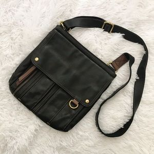 Fossil Multiple Pocket Leather Crossbody Purse